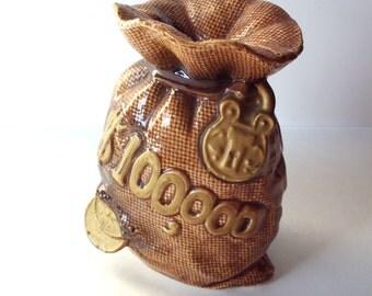 Vintage Ceramic Money Bag Bank, 100,000 Dollars, Japan, Piggy Bank