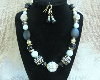 Blue Gold and Black Chunky Necklace