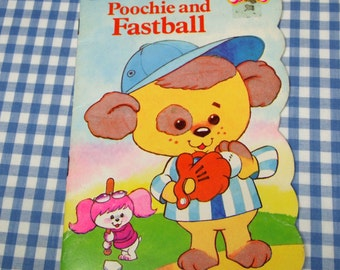 poochie and fastball, vintage 1983 children's golden fuzzy shape book