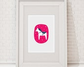 Swedish Dala Horse in Cerise and Navy Blue Limited Edition Digital Print