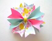 """Easter Hair Bow - 3.5"""" Medium Spike Bow - Pastel Easter Eggs - Easter Egg Hair Bow"""