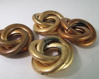 4 Vintage 18mm Brass Love Knot Beads Mt237