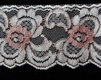 Beautiful Vintage Nylon Lace Beige and Rose