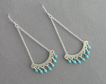 Turquoise Dangle Earrings - Chandelier Earrings - Sterling Silver - Long Earrings