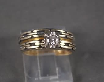 1960s Diamond Wedding Set .20Ct Yellow Gold Antique Chain Design 4.2gr  Size 7.5