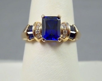 1980s Lab Sapphire and Diamond Ring 2Ctw Yellow Gold 3.8gm Size 6.75 Engagement or Birthstone
