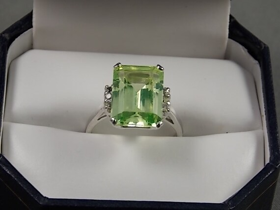 1950s Green Spinel Ring White Gold 14k 9 12ctw 5gm Size 6 Lime