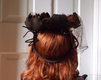 1930s Hat * Brown Wool Felt Leaf Topper Crown Hat Ring + Amber Rust + Net Veil 1940s