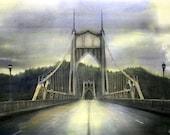 "20x30 Original Hand-Painted Photograph ""The Middle of the Bridge""  St. Johns Bridge, Portland, Oregon"