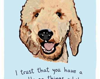 Portuguese Water Dog 5x7 Print of Original Painting with phrase