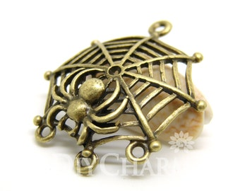 Antique Bronze Tone Spider And Its Web Charms 32x37mm - 20Pcs - DC00012