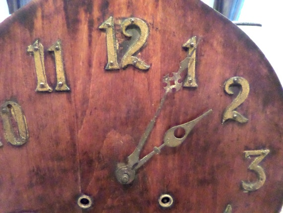 Antique mission arts and crafts oak wood wall clock brass for Arts and crafts style wall clock