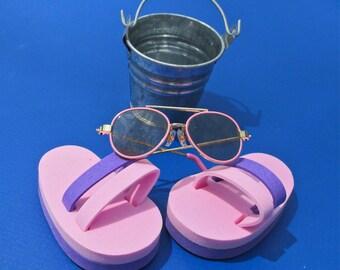 Doll Flip Flops, Sunglasses & Pail
