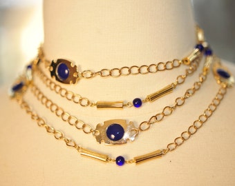 Handmade Vintage Long Gold and Royal Blue Necklace
