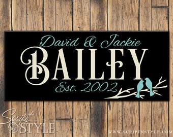 Wood Personalized Family Established Sign, Personalized Family Name Sign, Love Birds, 2 Sizes