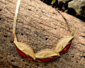 Trifari gold enamel necklace, vintage 1960's bib, red enamel leaves, Holiday gift for her