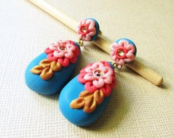 Flower Statement Earrings, Bright Flower Earrings, Floral Earrings on Etsy