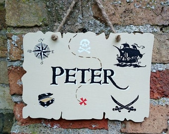 Personalised Pirate Sign Treasure Map Wooden Hanging Sign Hand Painted Name Plaque Child's Bedroom Decor Gift