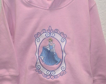 Disney Embroidered Cinderella Pink Hoodie For Toddler To Young Girls