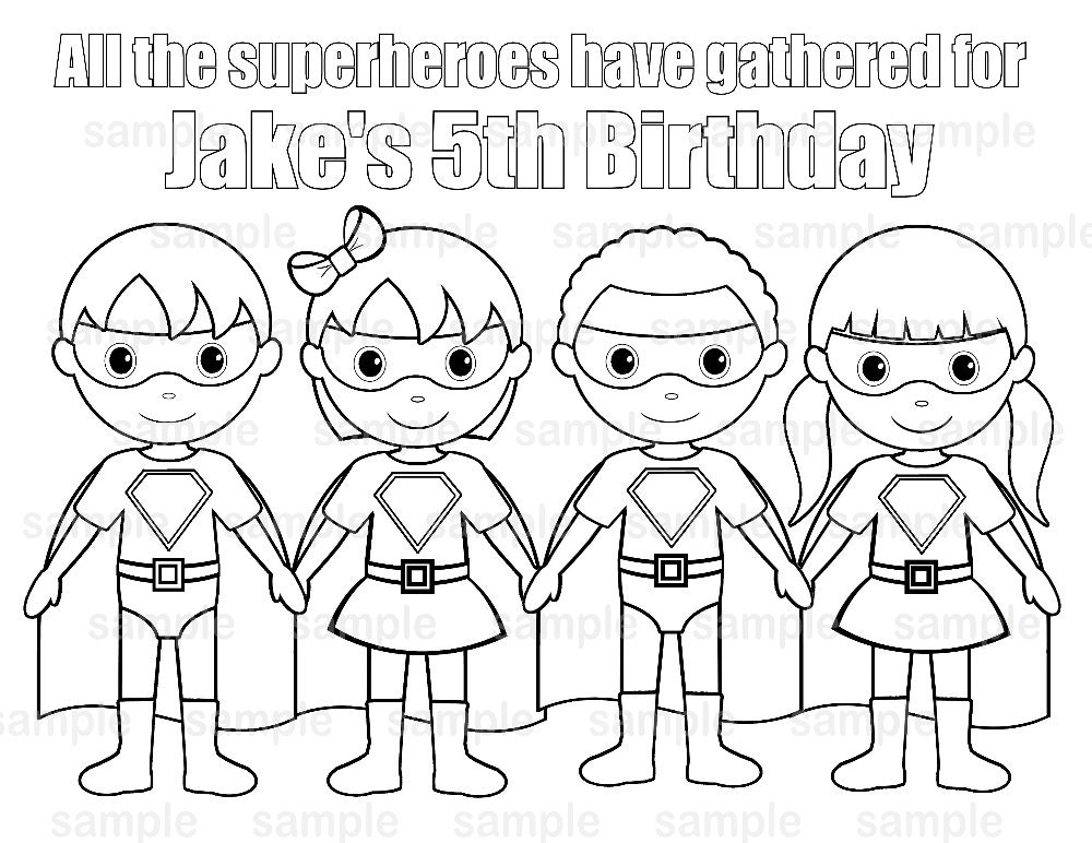 Personalized Printable SuperHero boy girl group Birthday Party