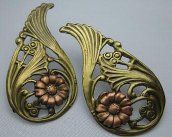 SALE! Vintage Earrings - Ornate Victorian - Pierced