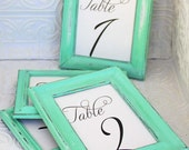 Painted Frame OneTable Number Vintage Aqua Mint Green Hand Painted Distressed Frame