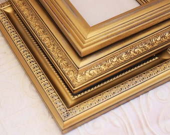 Gold Picture Frame Metallic 8x10 Vintage Hand Painted & Distressed
