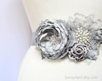 "Bridal Gray Flower Ribbon Sash ""Jenna"" Wedding Sash/  Handmade Accessory"