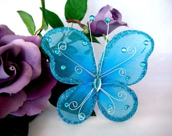 "5"" Turquoise Nylon Butterflies for Baby Shower, Wedding Decor, Flower Arrangement, Baptism, Christening Favors, Embellishment, 3 or 6 pieces"