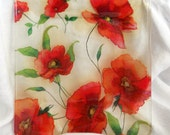 "GRACEFUL POPPIES 10"" Large Square Semi Transaprent Glass Decoupage Serving Plate Platter Orange Red Poppy Flowers Decorative Useful (2e)"