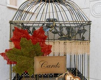 Large Fall Burlap Wedding Birdcage Card Holder / Wedding Card Holder / Wedding Card Box / Wedding Birdcage / Fall Wedding / Burlap Wedding