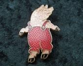 Vintage Pig Pin Brooch Gold Tone Enamel Costume Jewellery Figural