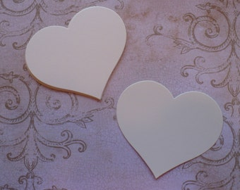 50 Full Heart Shape Die Cuts Made from Cream Cardstock for Rustic Weddings Tags Cardmaking Labels