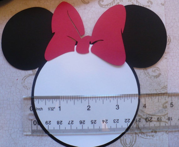 25 black minnie mouse head shapes white circle shapes red, Birthday invitations
