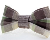 Earth Tones Plaid Clip On Bow Tie