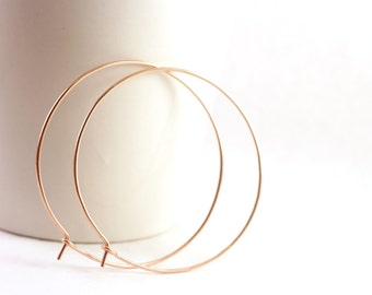 Large Rose Gold Hoop Earrings, Rose Gold Earrings, 18 Gauge Hammered Thin Hoop Earrings, Rose Gold Hoop Earings, Rose Gold Earings