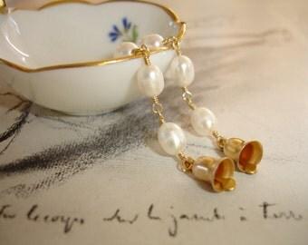 Wedding Bells Earrings, Vintage Brass Bells and White Freshwater Pearls, Long Dangling Earrings, Bridal, Bridesmaid, Romantic, Whimsical