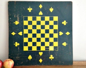 Vintage Game Board Alphabet Checkers Game Wall Hanging