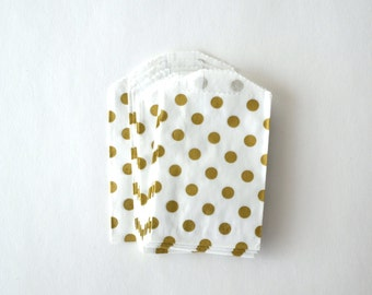 25 Small Metallic Gold Polka Dot White Paper Bags, 2.75 x 4 inches