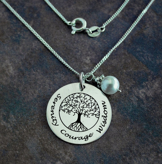 Tree of life necklace serenity necklace courage jewelry for Just my style personalized jewelry studio