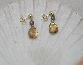Rutilated Quartz and Pearl Earrings