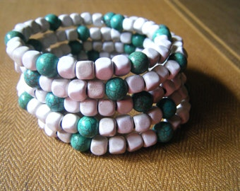 White and Turquoise memory wire bracelet, wrap bracelet