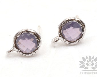 E200-R-AM// Rhodium Plated Amethyst Round Glass Post Earring, 2 pcs