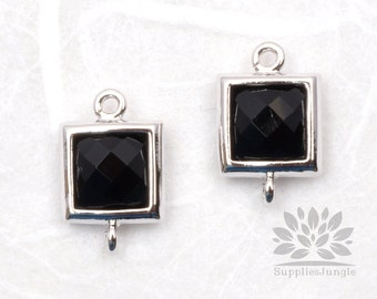 F140-S-BK// Rhodium Framed Black Faceted Square Glass Connector, 2 pcs