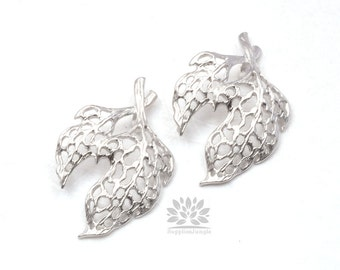 P515-MR// Matt Original Rhodium Plated Leaf Pendant, 2 pcs