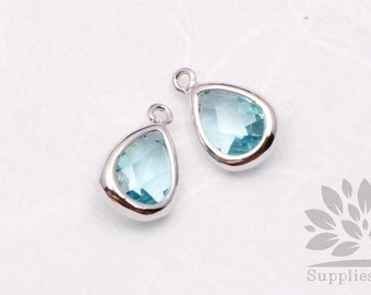 F121-S-IB// Silver Plated Ice Blue Faceted Teardrop Glass Pendant, 2 pcs