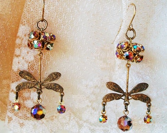 Vintage CRYSTAL DANGLES, Stunning Shimmering Vintage Swarovski Vitrail Stones, Aged Brass Dragonfly, OOAK Handmade Bohemian Beauty