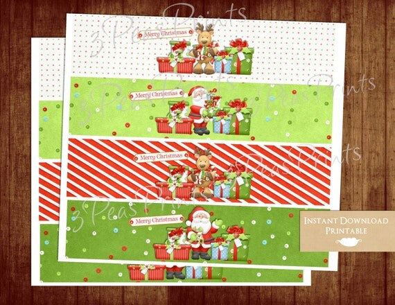 Christmas Holiday Printable Water Bottle Wraps Labels Reindeer Red and Green INSTANT DOWNLOAD