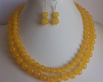 jade necklace - double rows 8-10mm yellow jade necklace & earring set  free shipping