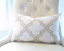 Elegant Gold White Trellis Lumbar Pillow,12x18in Gold decorative pillows, Chair Pillows, pillow sets,Gold pillow cover,Gold cushion cover,